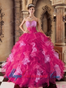 Hot Pink Ball Gown Strapless With Organza Beading and Ruffles Sweet 15 Quinceanera Dresses