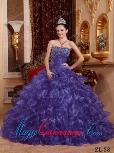 Modest Purple Ball Gown Strapless Floor-length Organza Beading The ...