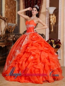 Red Ball Gown Sweetheart Floor-length Organza Beading Spring Quinceanera Dress