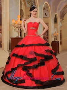 Red and Black Strapless Floor-length Appliques Spring Quinceanera Dress