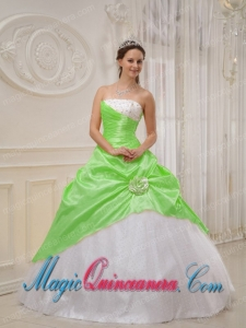 Spring Green and White Strapless Floor-length Beading Spring Quinceanera Dress