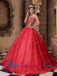Sweet 15 Quinceanera Dresses In Red A-line Sweetheart With Organza Beading