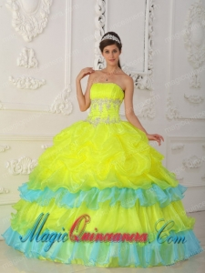Sweet 15 QuinceaneraDresses In Yellow Ball Gown Strapless With Organza Beading and Ruffles