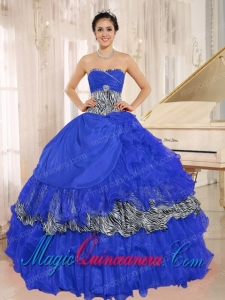 Wholesale Blue Sweetheart Ruffles Beautiful Sweet 16 Dresses With Zebra and Beading