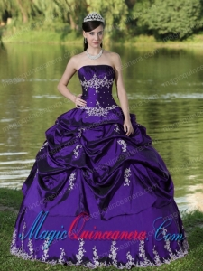 Custom Made Purple Spring Quinceanera Dress Party Wear With Satin Embroidery Decorate