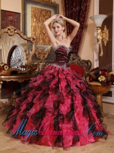 Red and Black Sweetheart Floor-length Organza Beading and Ruffles Spring Quinceanera Dress