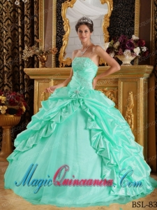 Apple Green Ball Gown Floor-length Taffeta and Tulle with Beading Popular Quinceanera Dresses