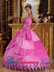 Hot Pink Ball Gown Sweetheart Floor-length Taffeta Appliques Popular Quinceanera Dresses