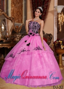 Hot Pink and Black Strapless Floor-length Embroidery Popular Quinceanera Dresses