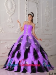 Lilac and Black A-Line Strapless Floor-length Organza Appliques Popular Quinceanera Dresses