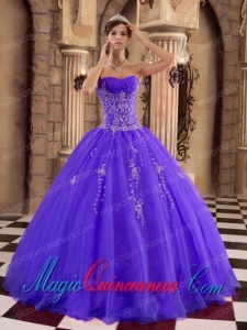 Purple Ball Gown Floor-length Organza with Beading Popular Quinceanera Dresses