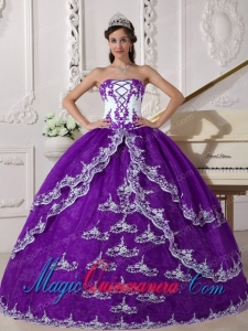 Purple and White Ball Gown Strapless Floor-length Organza Appliques Quinceanera Dress