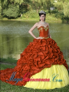 Appliques and Pick-ups Red Brush Train Exquisite Style For 2013 Gorgeous Sweet 15 Dresses