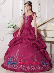 Ball Gown Straps Vintage Taffeta Embroidery Sweet 15 Dresses in Red