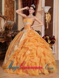 Ball Gown Sweetheart Vintage Organza Beading Quinceanera Gowns in Orange
