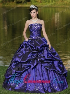 Custom Size Strapless Quinceanera Dress Beaded Decorate With Purple Popular Quinceanera Dresses