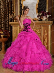 Hot Pink Ball Gown Sweetheart Floor-length Organza withAppliques Popular Quinceanera Dresses