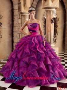 Multi-color Ball Gown Strapless Vintage Organza Ruffles Sweet 15 Dresses