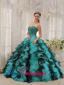 Multi-colored Ball Gown Sweetheart Floor-length Organza Beading Popular Quinceanera Dresses