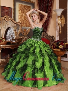 Olive Green and Black Sweetheart Vintage Beading and Ruffles Quinceanera Dress