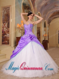 Popular Lilac and White A-Line Sweetheart Floor-length Beading Tulle and Taffeta Quinceanera Dresses