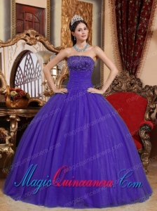 Purple Ball Gown Strapless Vintage Tulle Embroidery with Beading Quinceanera Gowns
