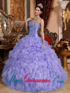 Purple Ball Gown Sweetheart Floor-length Organza Beading and Ruffles Popular Quinceanera Dresses