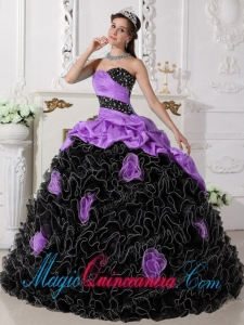 Purple and Black Sweetheart Floor-length Beading and Rolling Flowers Modest Sweet 15 Dresses