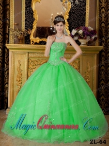 Spring Green Vintage Ball Gown Strapless Organza Beading Quinceanera Dress