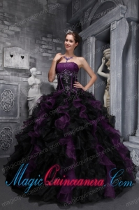 Strapless Taffeta and Organza Appliques and Ruffles Multi-color Vintage Sweet 15 Dress