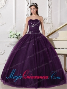 Vintage Dark Purple Ball Gown Sweetheart Tulle Quinceanera Gowns with Rhinestone