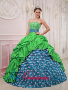 Vintage Green and Blue Ball Gown Strapless Floor-length Sweet 15 Dresses with Beading