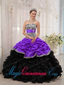 Vintage Purple and Black Ball Gown Sweetheart Sweet 15 Dresses with Ruffles