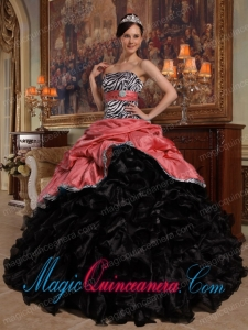 Vintage Red and Black Ball Gown Sweetheart Pick-ups Taffeta and Organza Sweet 15 Dresses