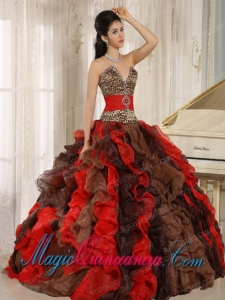 Wholesale Multi-color 2013 Luxurious Sweet 15 Dresses V-neck Ruffles With Leopard and Beading