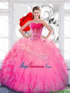 2015 Gorgeous Strapless Quinceanera Gown with Ruffles and Appliques
