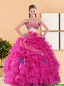 2015 Gorgeous Sweetheart Quinceanera Gowns with Beading and Ruffles