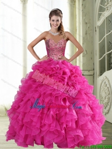 Dramatic Sweetheart Hot Pink 2015 Quinceanera Dresses with Beading and Ruffles