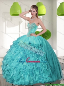 Gorgeous Beading and Ruffles Strapless Aqua Blue Quinceanera Dresses for 2015
