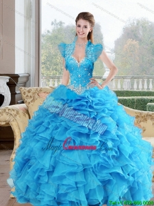 Gorgeous Beading and Ruffles Sweetheart 2015 Quinceanera Gowns in Baby Blue