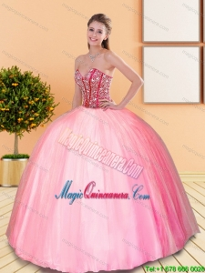 2015 Fashion Beading Sweetheart Ball Gown Quinceanera Dresses in Rose Pink