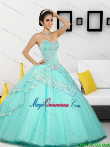 2015 Fashion Beading Sweetheart Quinceanera Dresses in Apple Green