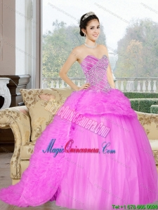 2015 Fashion Court Train Sweet 16 Dress with Beading and Ruffles
