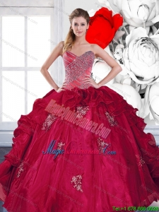 2015 Fashion Sweetheart Ball Gown Quinceanera Dresses with Appliques