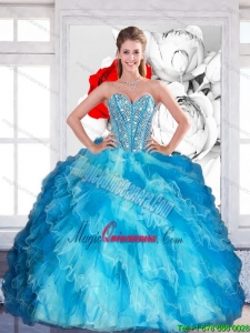 2015 Fashion Sweetheart Multi Color Quinceanera Dresses with Beading and Ruffled Layers