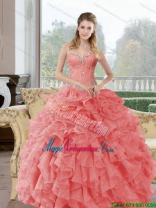 2015 Popular Beading and Ruffles Quinceanera Dresses in Watermelon