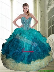 2015 Popular Beading and Ruffles Sweetheart Quinceanera Dresses in Multi Color