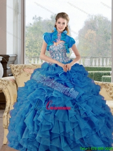 Fashion Beading and Ruffles Sweetheart Quinceanera Gown for 2015