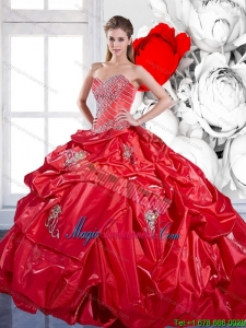 Fashion Pick Ups and Appliques 2015 Red Quinceanera Dresses with Brush Train