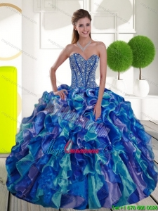 Remarkable Beading and Ruffles Sweetheart 2015 Sweet 15 Dresses in Multi Color